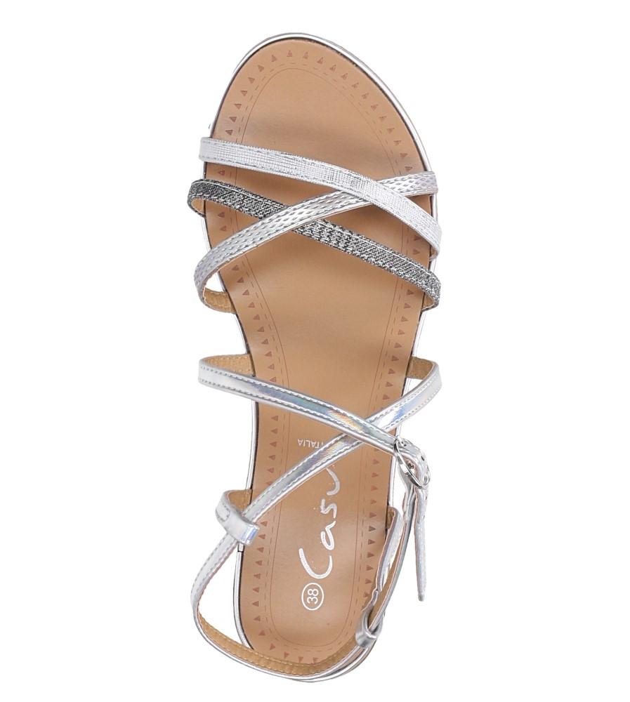 Srebrne sandały metaliczne płaskie Casu S19X5/S wierzch skóra ekologiczna