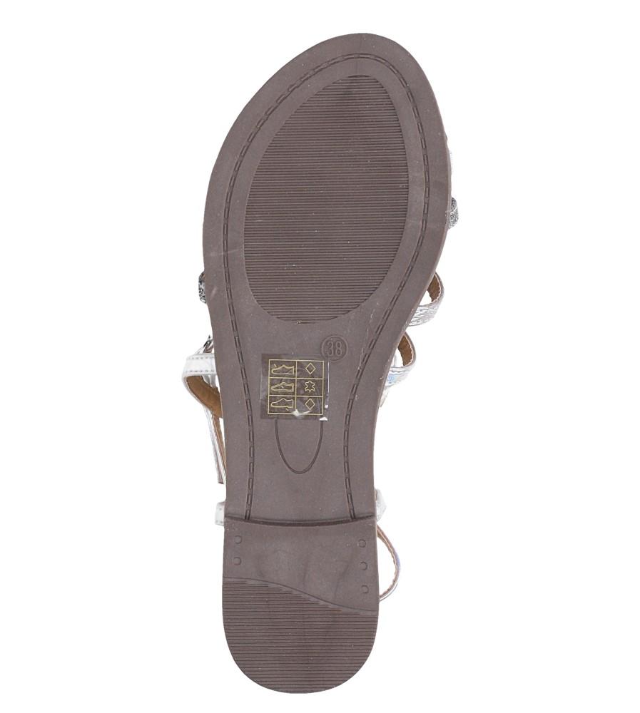 Srebrne sandały metaliczne płaskie Casu S19X5/S wnetrze skóra ekologiczna