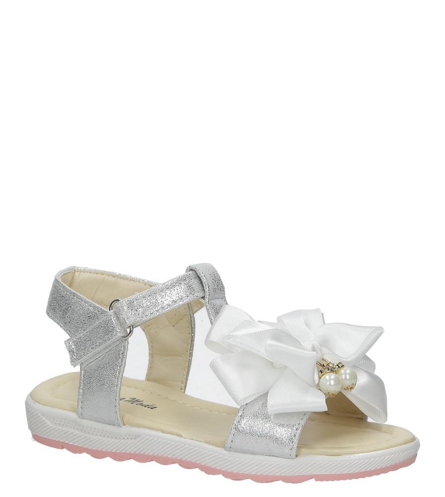 Srebrne sandały na rzep z kokardą i perełkami Casu 8913C producent Casu