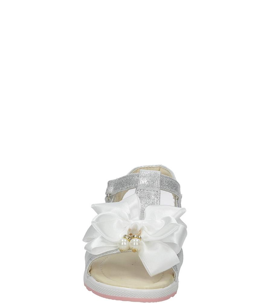 Srebrne sandały na rzep z kokardą i perełkami Casu 8913C sezon Lato