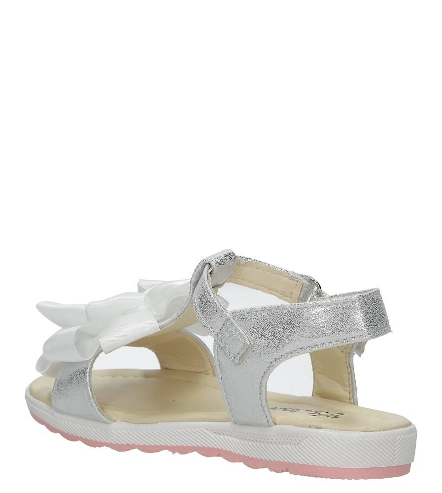 Srebrne sandały na rzep z kokardą i perełkami Casu 8913C kolor srebrny