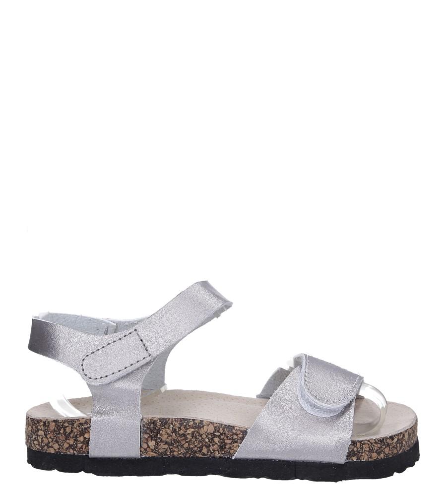 Srebrne sandały na rzepy ze skórzaną wkładką i profilowaną korkową podeszwą Casu B19KDX1/S
