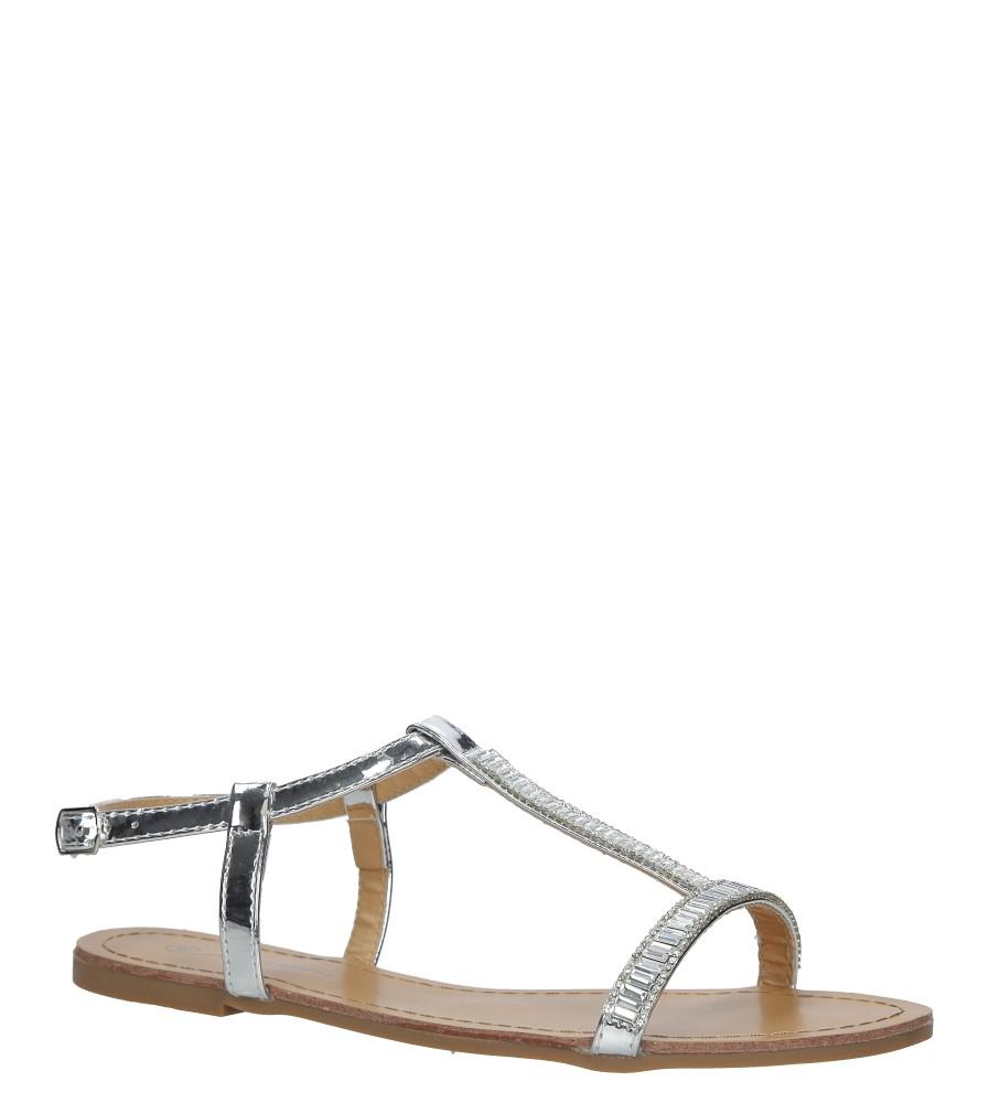 Srebrne sandały płaskie błyszczące Casu SY644