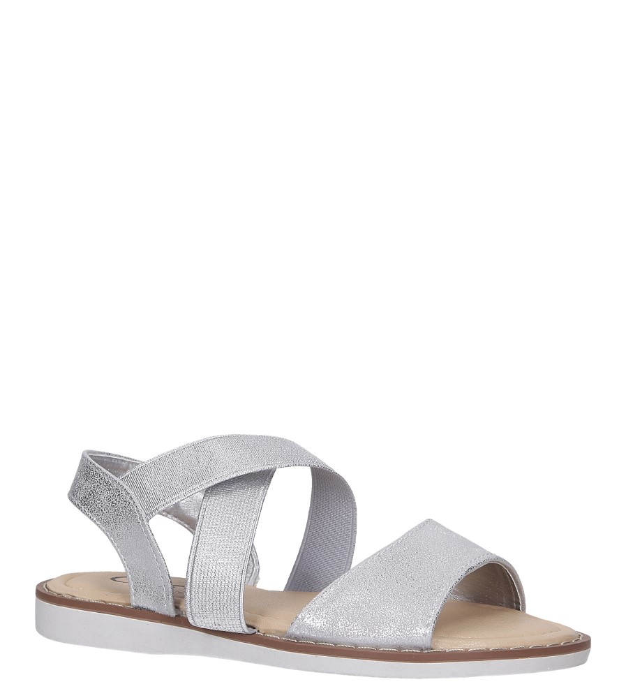 Srebrne sandały płaskie błyszczące paski gumki Casu SN19KX1/S producent Casu