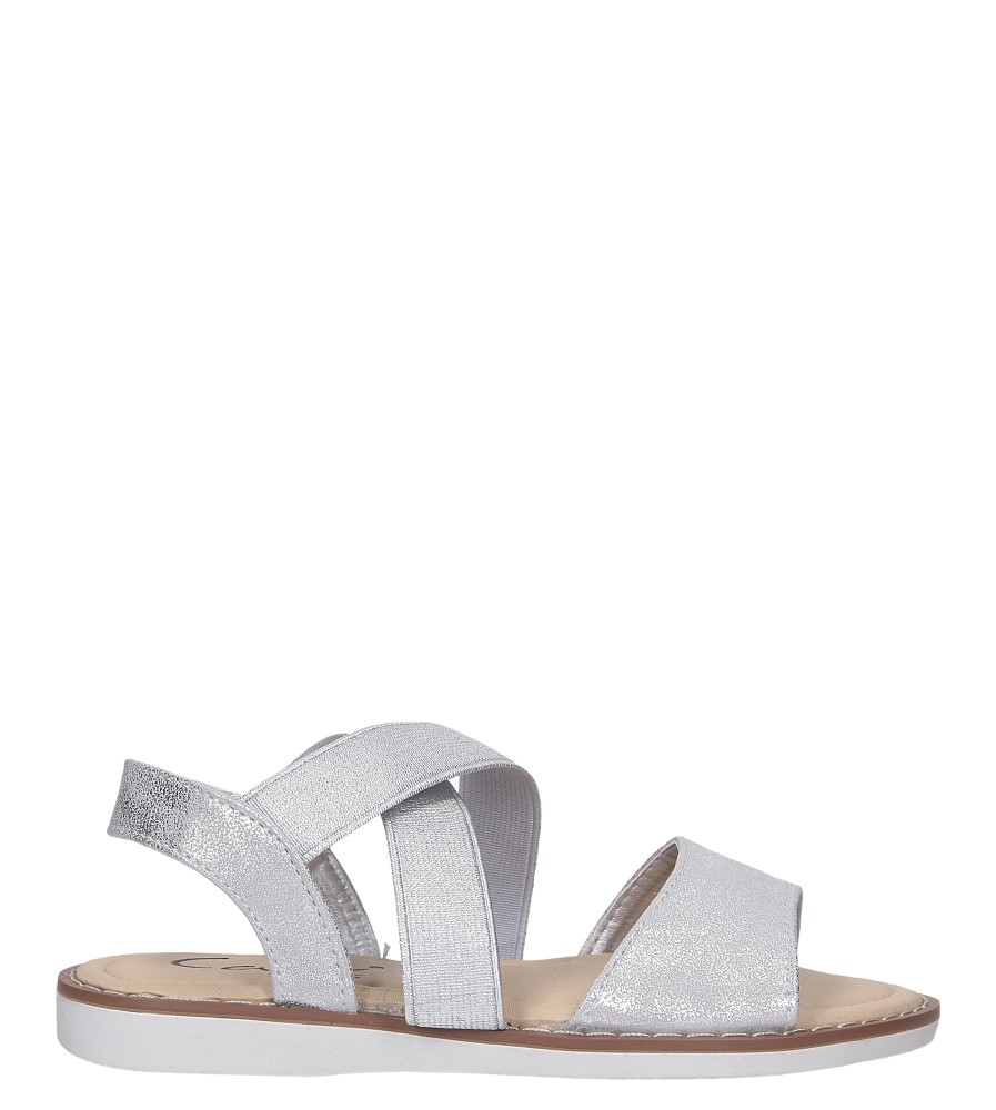Srebrne sandały płaskie błyszczące paski gumki Casu SN19KX1/S model SN19KX1/S