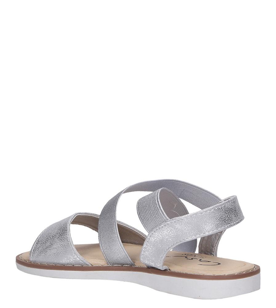 Srebrne sandały płaskie błyszczące paski gumki Casu SN19KX1/S sezon Lato
