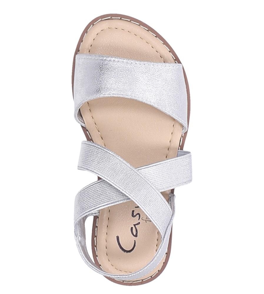 Srebrne sandały płaskie błyszczące paski gumki Casu SN19KX1/S kolor srebrny