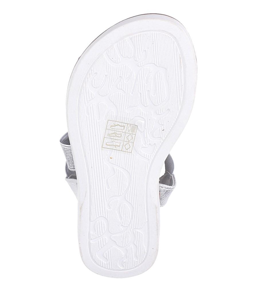 Srebrne sandały płaskie błyszczące paski gumki Casu SN19KX1/S wysokosc_obcasa 1.5 cm