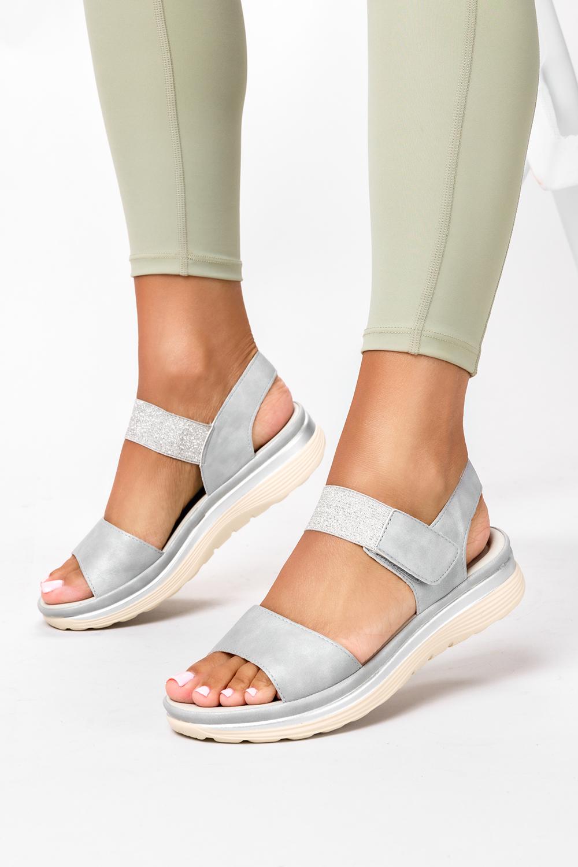 Srebrne sandały płaskie na rzepy z brokatową gumką Casu W19X9/G producent Casu
