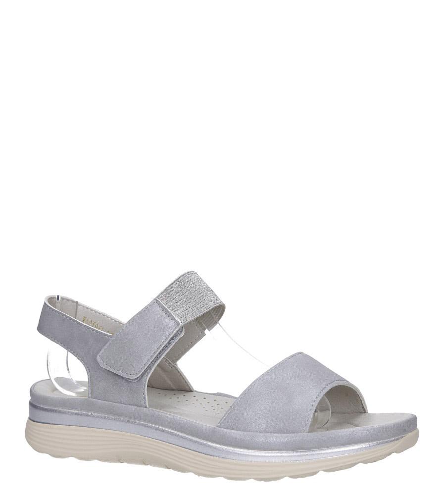 Srebrne sandały płaskie na rzepy z brokatową gumką Casu W19X9/G model W19X9/G
