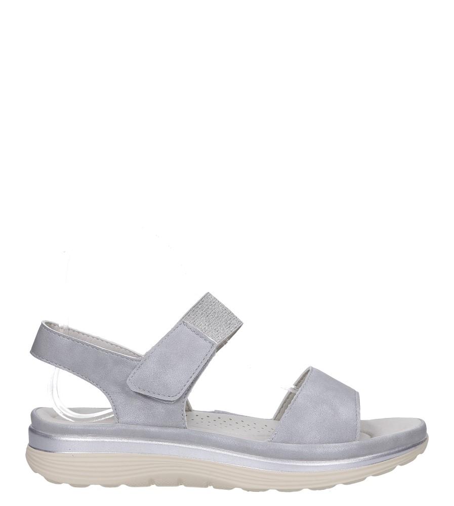 Srebrne sandały płaskie na rzepy z brokatową gumką Casu W19X9/G wysokosc_platformy 2 cm