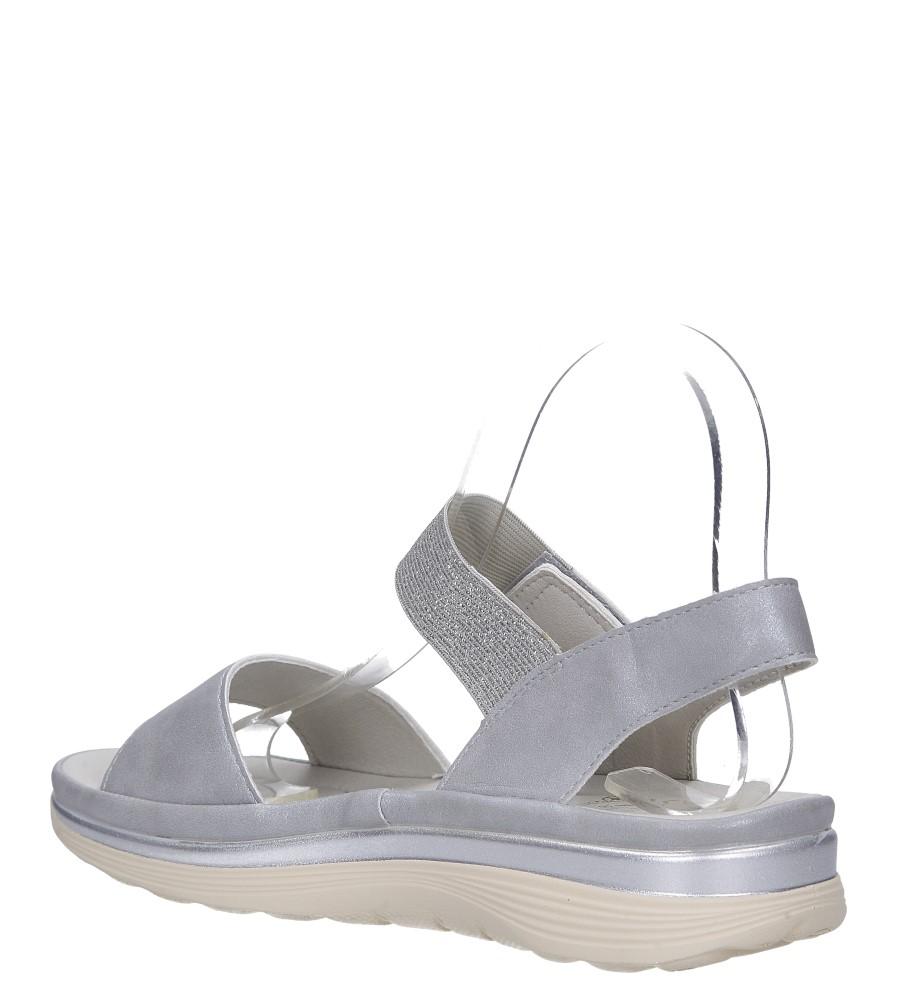 Srebrne sandały płaskie na rzepy z brokatową gumką Casu W19X9/G wys_calkowita_buta 12 cm