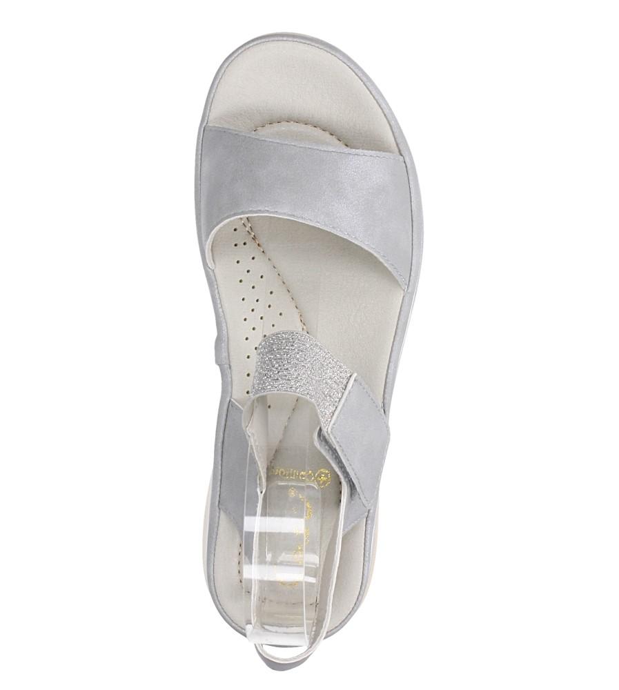 Srebrne sandały płaskie na rzepy z brokatową gumką Casu W19X9/G wierzch skóra ekologiczna