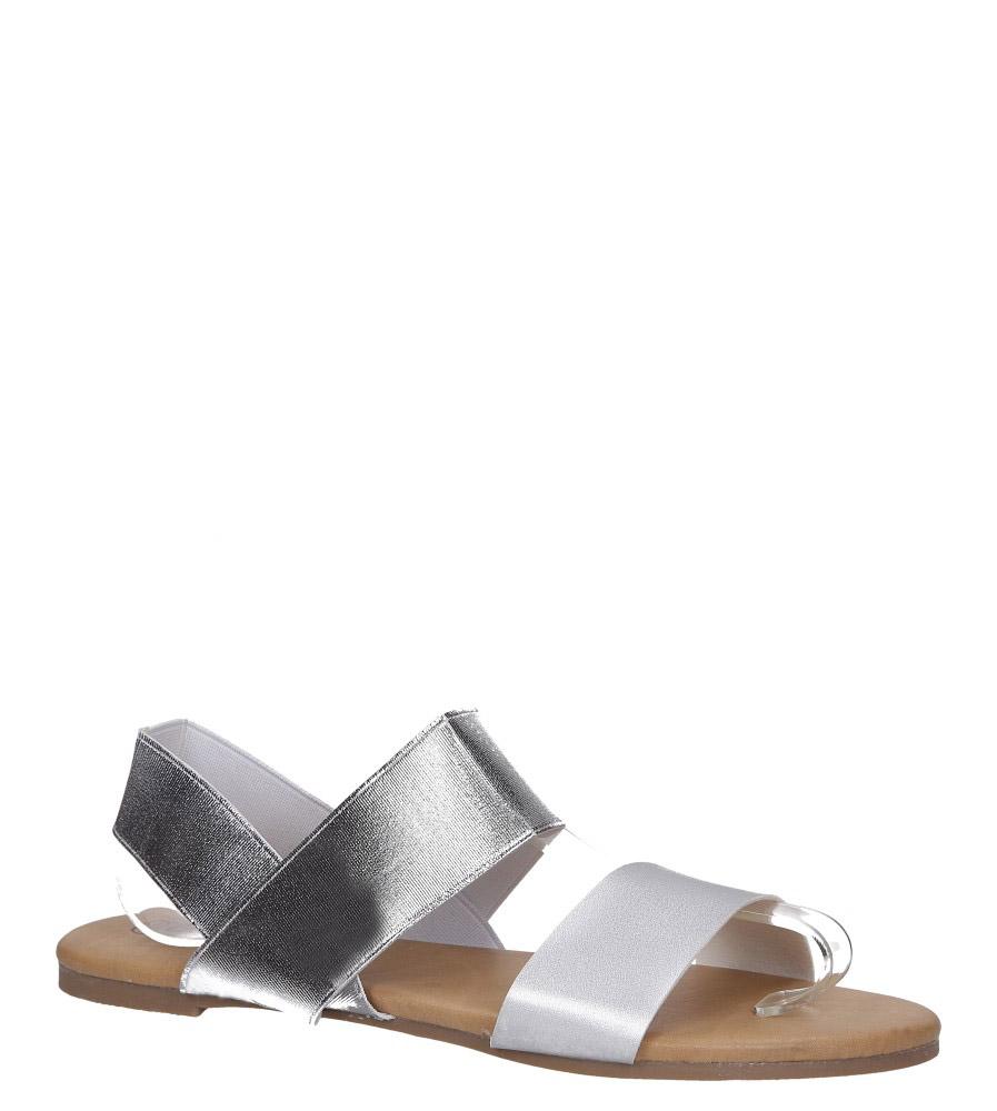 Srebrne sandały płaskie paski gumki Casu S19X1/S