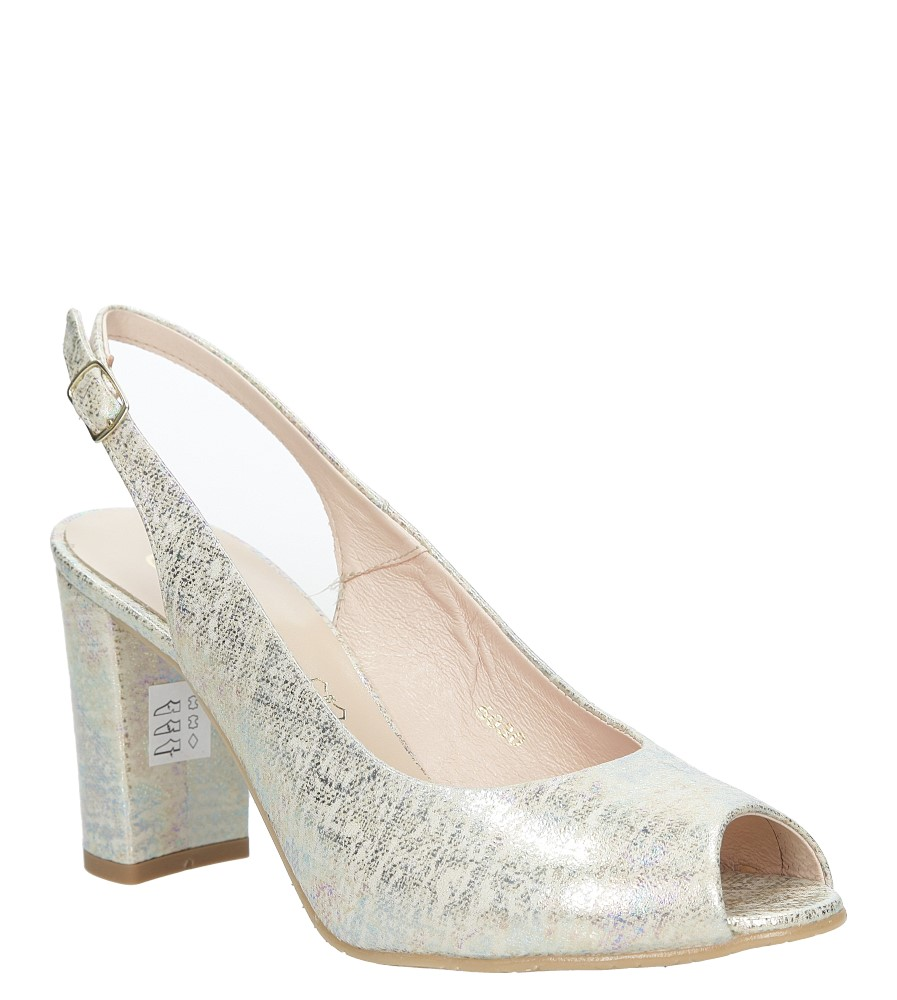 Srebrne sandały skórzane na szerokim słupku multicolor Casu 6030/1155