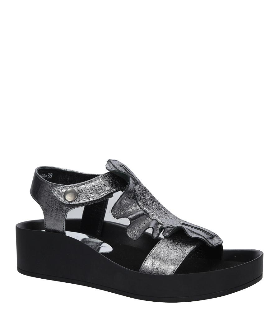 Srebrne sandały skórzane z falbanką Karino 2468/078-P srebrny