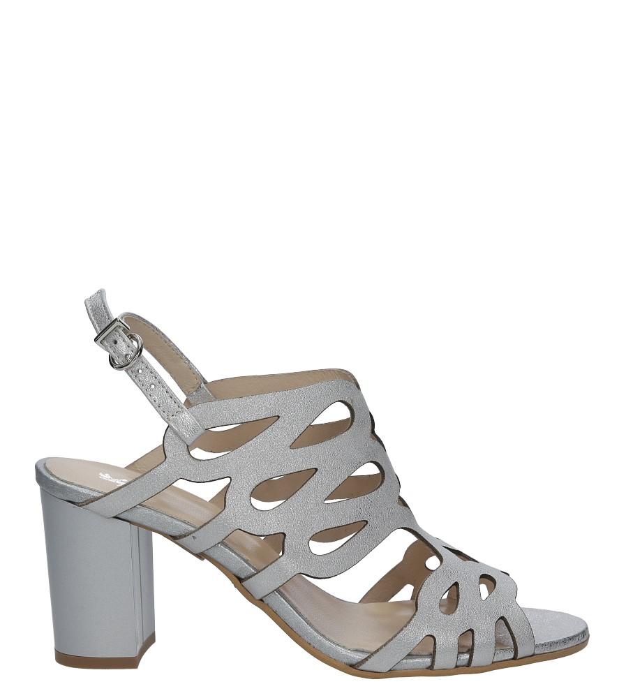 a571da8fb817a ... Srebrne sandały skórzane zabudowane ażurowe na obcasie Kordel 1684  sezon Lato ...