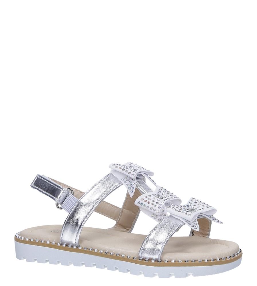 Srebrne sandały z kokardką i cyrkoniami na rzep Casu 8957B
