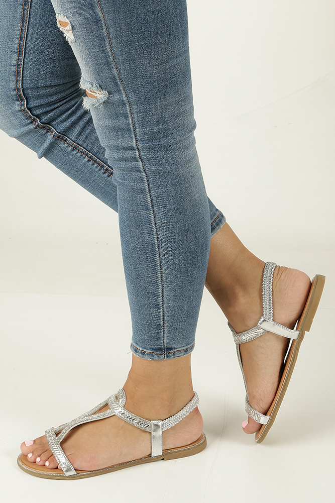 Srebrne sandały z kryształkami Casu WL208