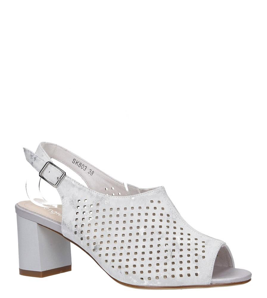 f933b51220249 ... Srebrne sandały zabudowane ażurowe błyszczące na słupku Sergio Leone  SK803