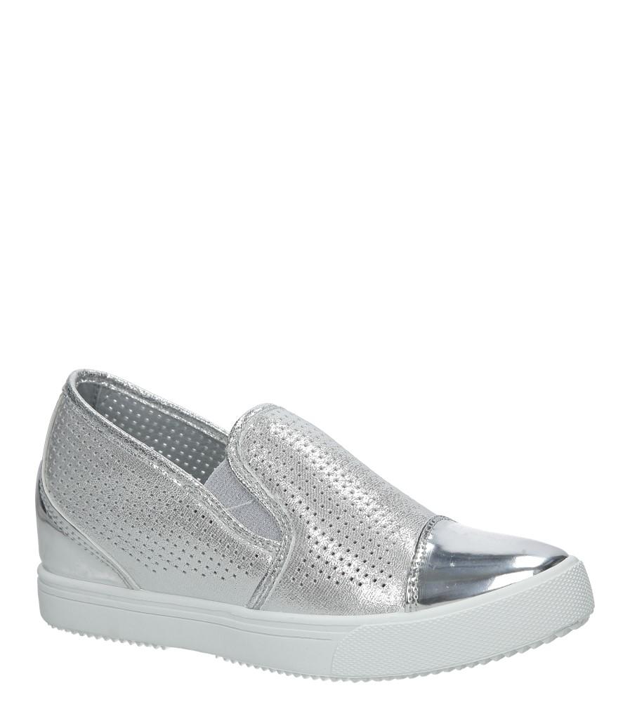 Srebrne sneakersy błyszczące Casu DD439-2