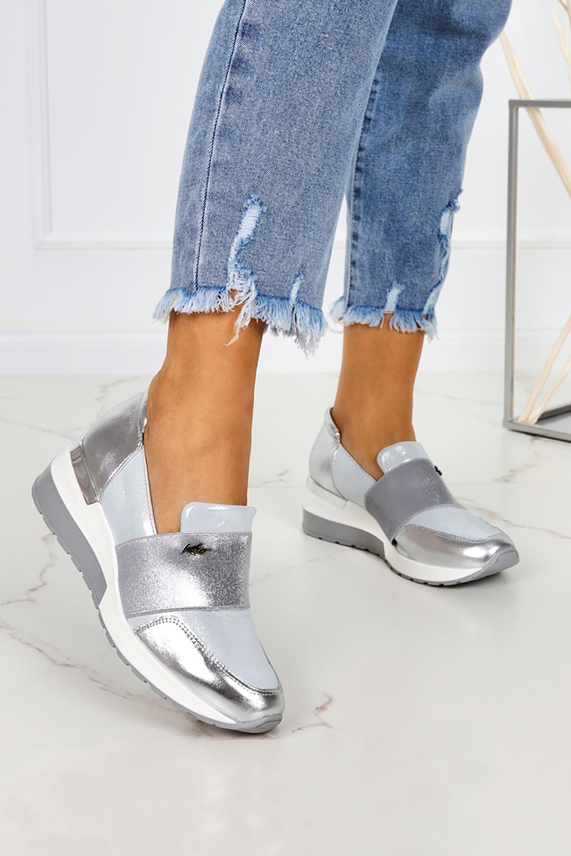 Srebrne sneakersy Kati półbuty na koturnie z gumką polska skóra 7020 srebrny