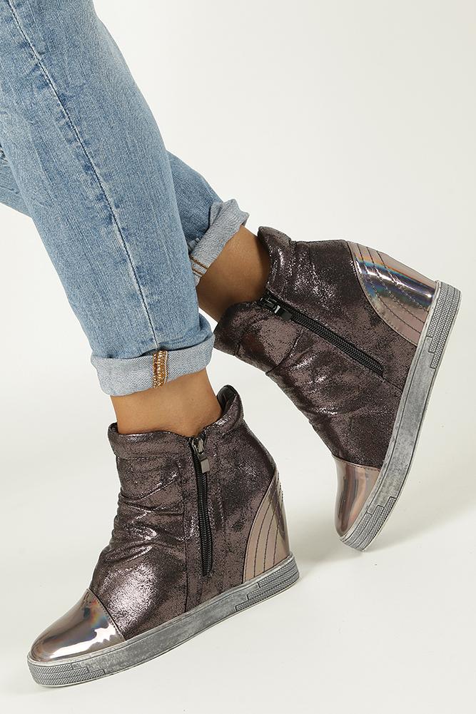 Srebrne sneakersy na koturnie Sergio Leone 28875