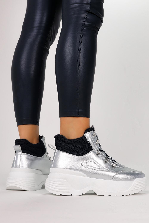 Srebrne sneakersy na platformie buty sportowe sznurowane Casu LV111-6 srebrny