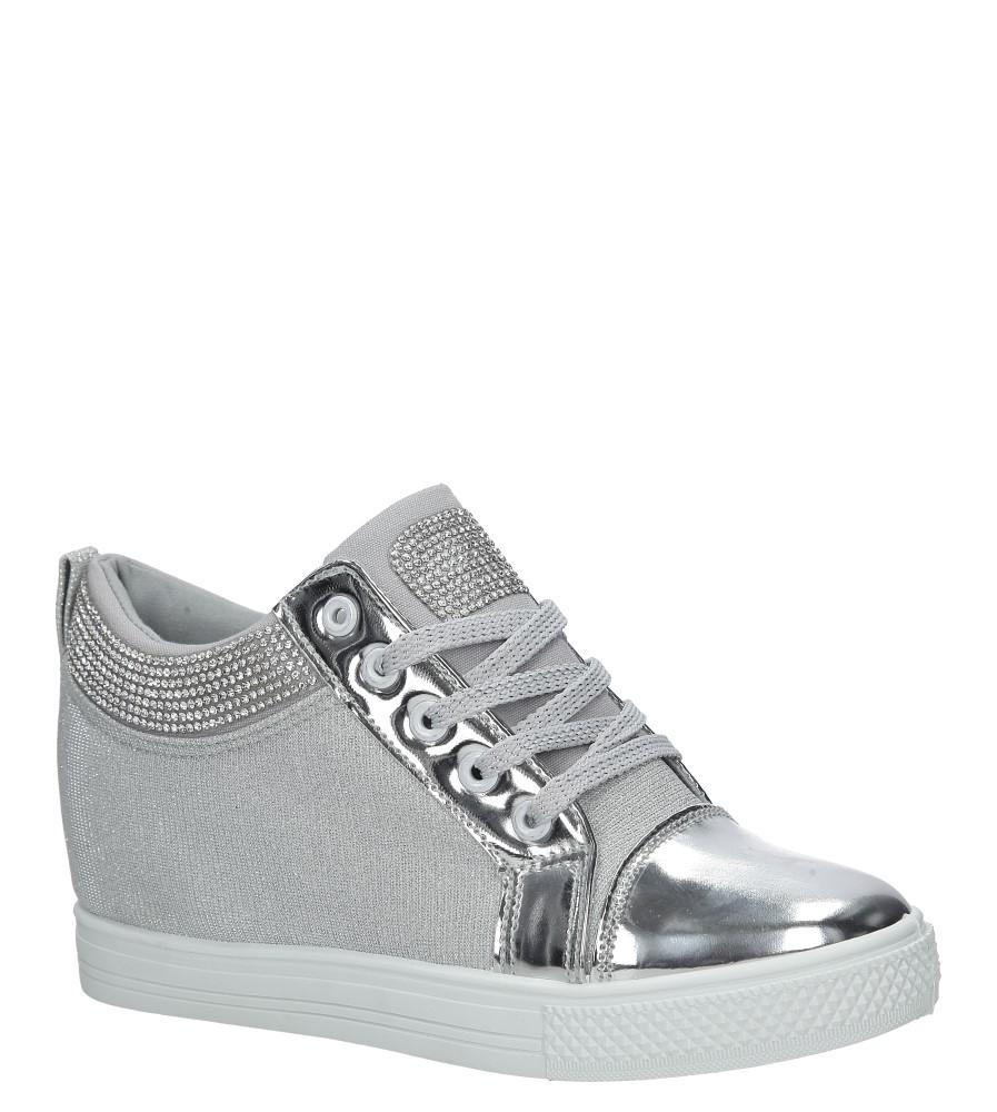 Srebrne sneakersy sznurowane z cyrkoniami Casu DD463A-2