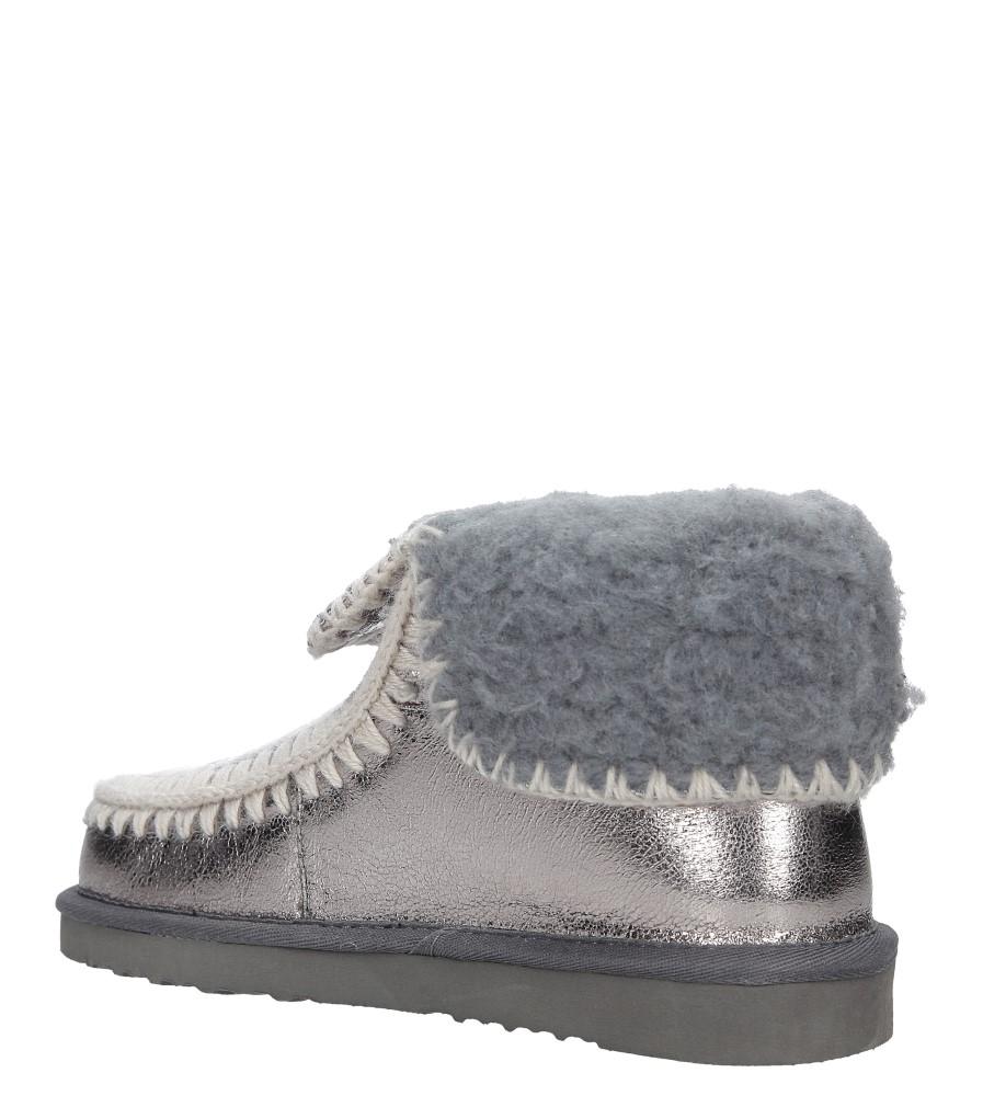 Srebrne śniegowce błyszczące emu Casu 7-ZT7833A wnetrze futerko