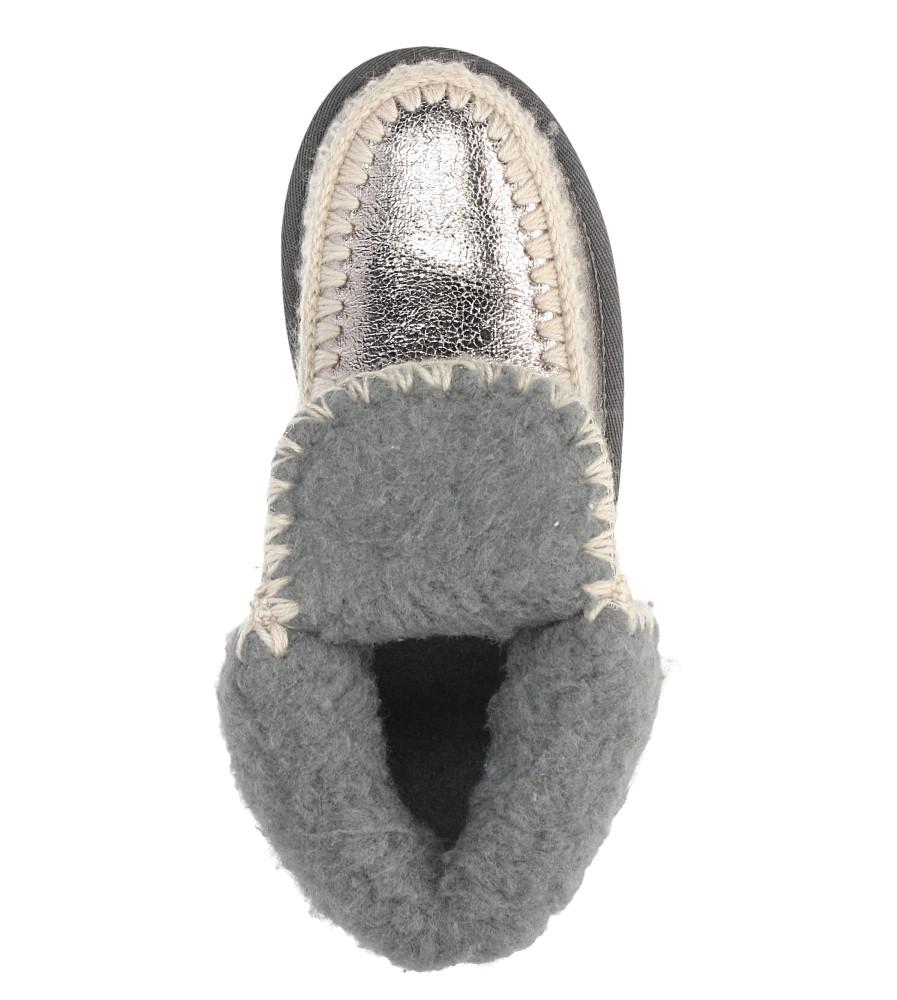 Srebrne śniegowce błyszczące emu Casu 7-ZT7833A wkladka futerko