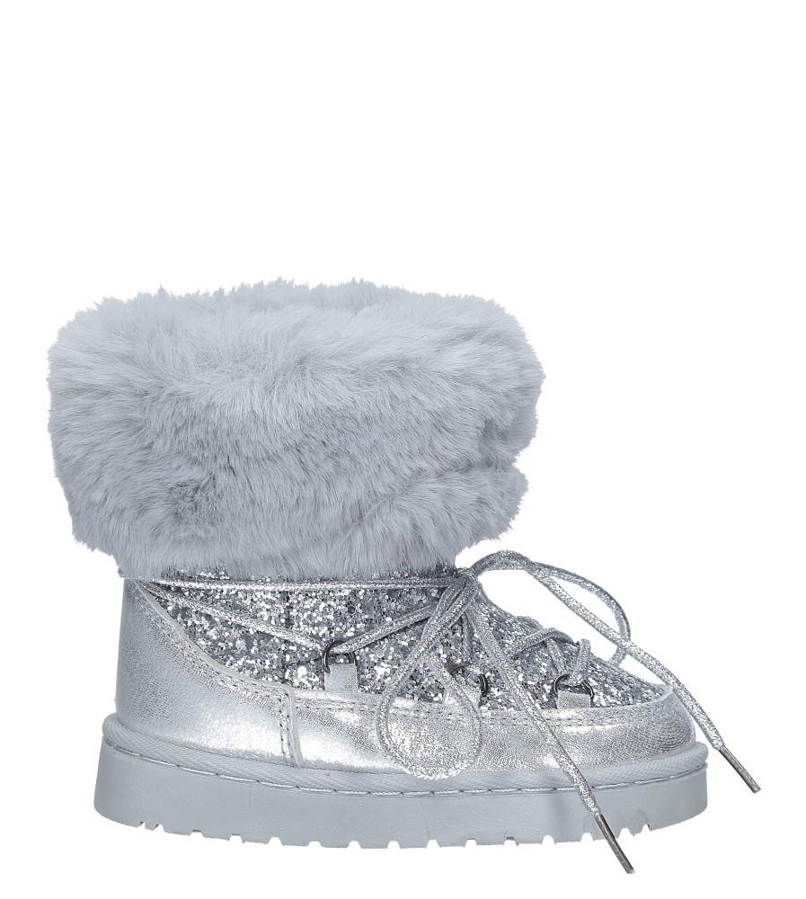 Srebrne śniegowce brokatowe z futerkiem Casu 301-73B