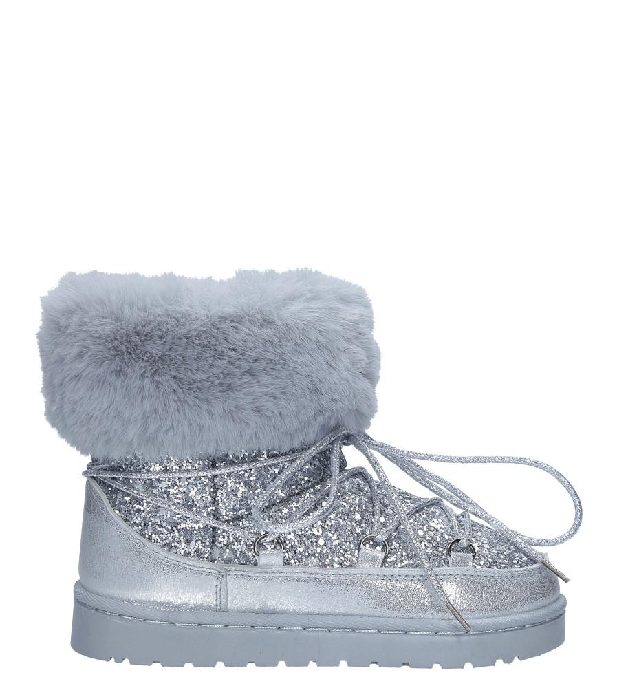 Srebrne śniegowce brokatowe z futerkiem Casu 301-73C