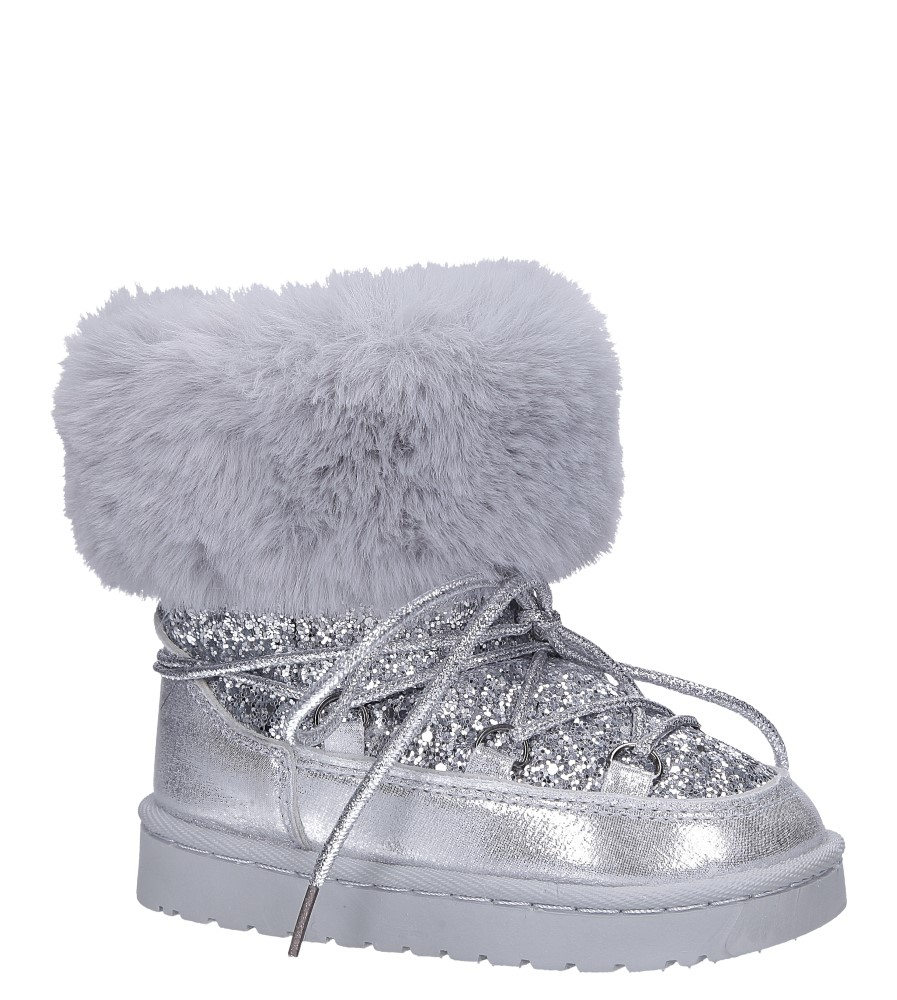 Srebrne śniegowce mukluki z brokatem emu Casu 20222-2G