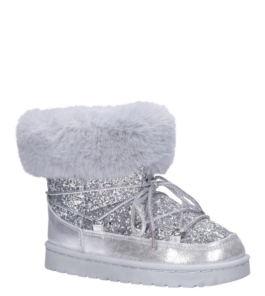 Srebrne śniegowce mukluki z brokatem emu Casu 20222-3G