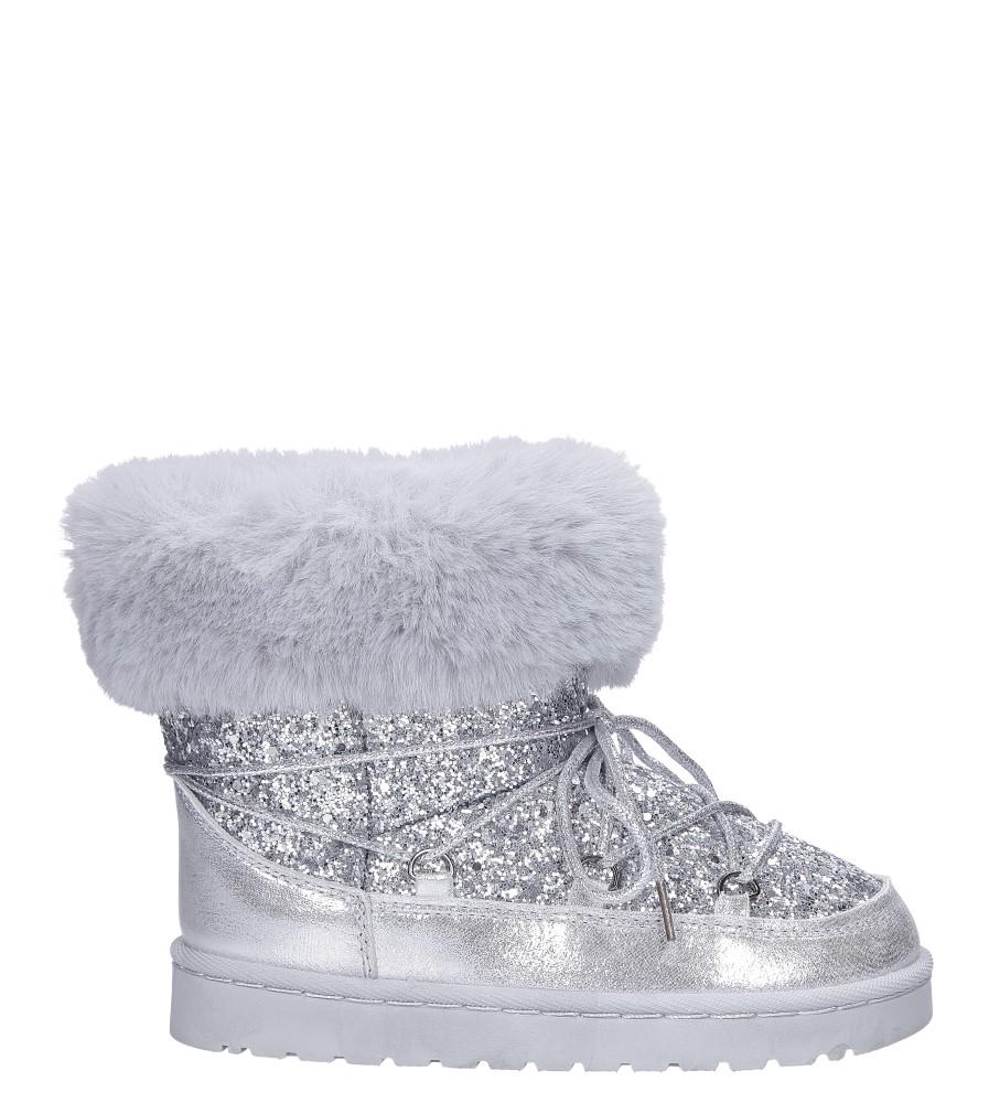Srebrne śniegowce mukluki z brokatem emu Casu 20222-3G kolor srebrny