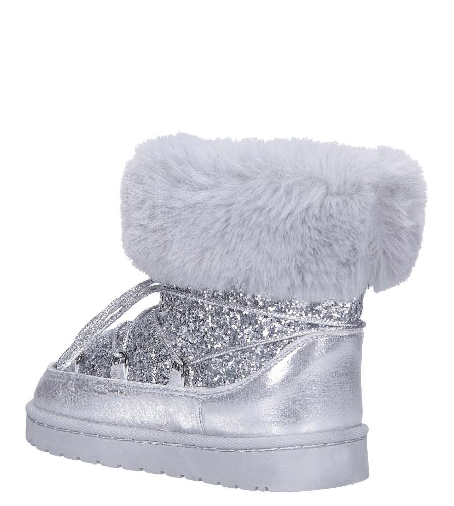 Srebrne śniegowce mukluki z brokatem emu Casu 20222-3G wysokosc_platformy 1.5 cm
