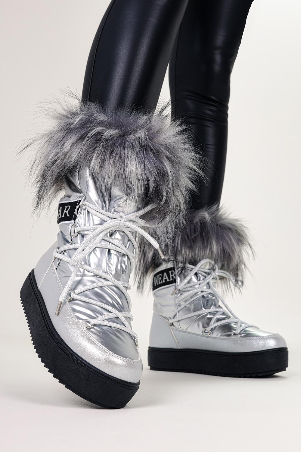 Srebrne śniegowce mukluki z futerkiem emu Casu BK915-19 srebrny