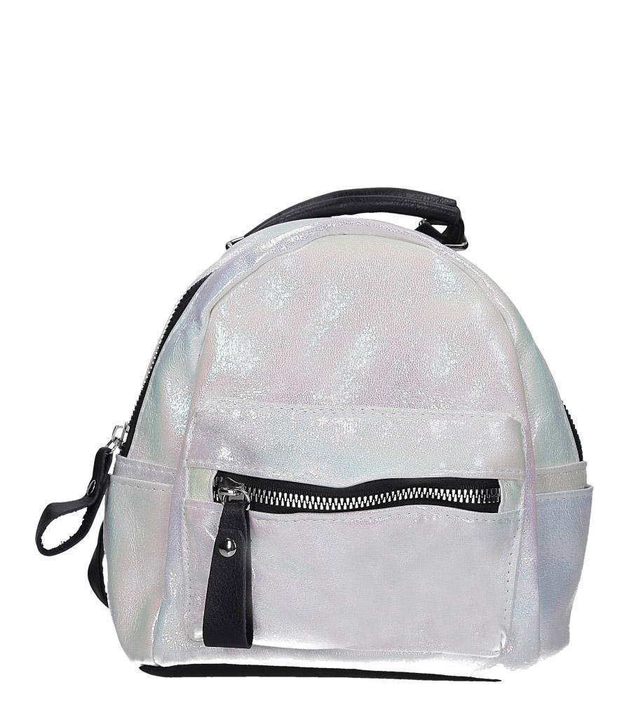 Srebrny plecak holograficzny z kieszonką z przodu Casu AE-47
