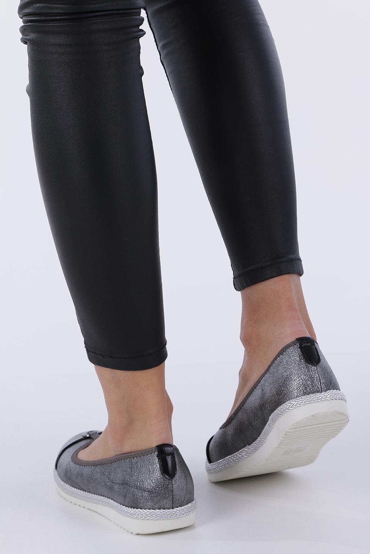 Stalowe baleriny espadryle z metalową ozdobą ze skórzaną wkładką Casu W19X2/P wysokosc_obcasa 2.5 cm