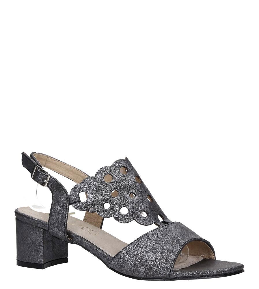 Stalowe sandały ażurowe błyszczące na niskim obcasie ze skórzaną wkładką Casu K19X3/PE