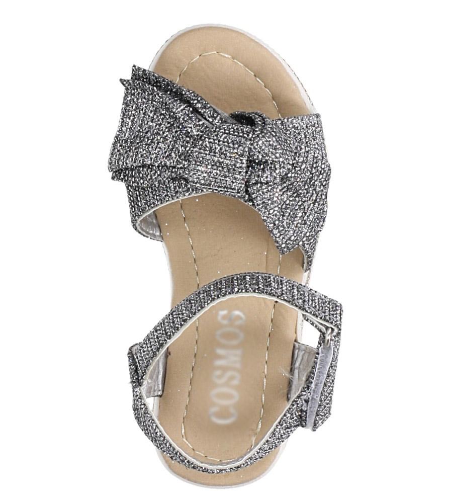 Stalowe sandały brokatowe z kokardką na rzep Casu Y216 kolor stalowy