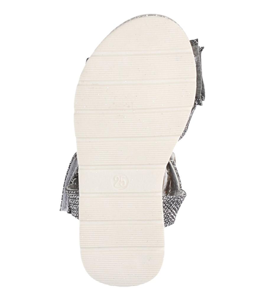 Stalowe sandały brokatowe z kokardką na rzep Casu Y216 wysokosc_platformy 1.5 cm