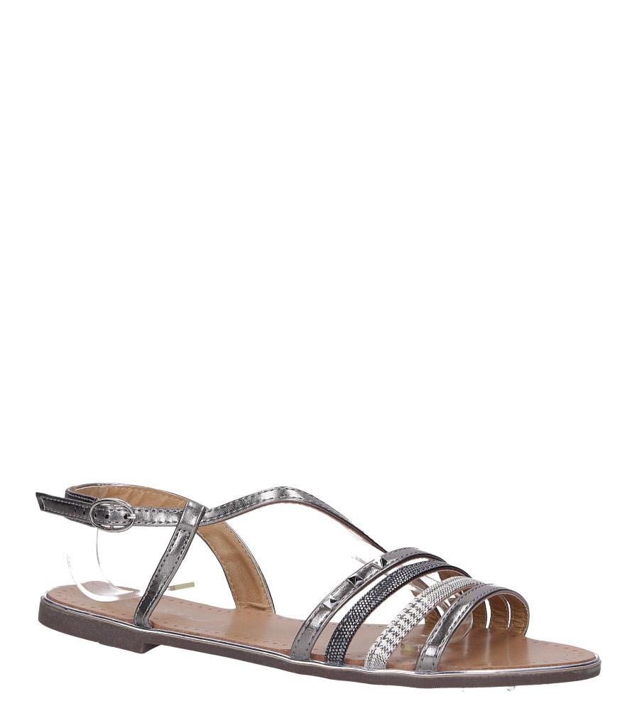 Stalowe sandały metaliczne płaskie z nitami Casu S19X6/PE