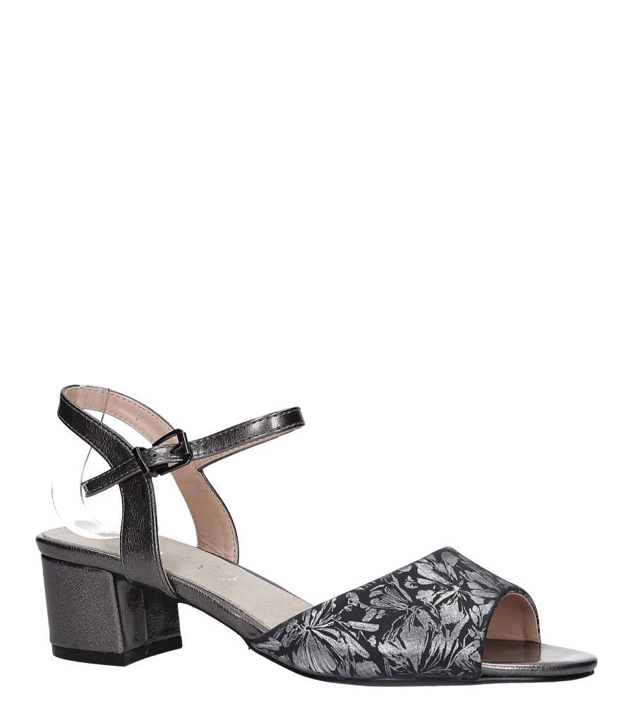 Stalowe sandały na obcasie niskim ze skórzaną wkładką błyszczący wzorek Casu RT19X3/PE