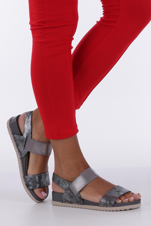 Stalowe sandały płaskie z gumką Casu F19X3/PE