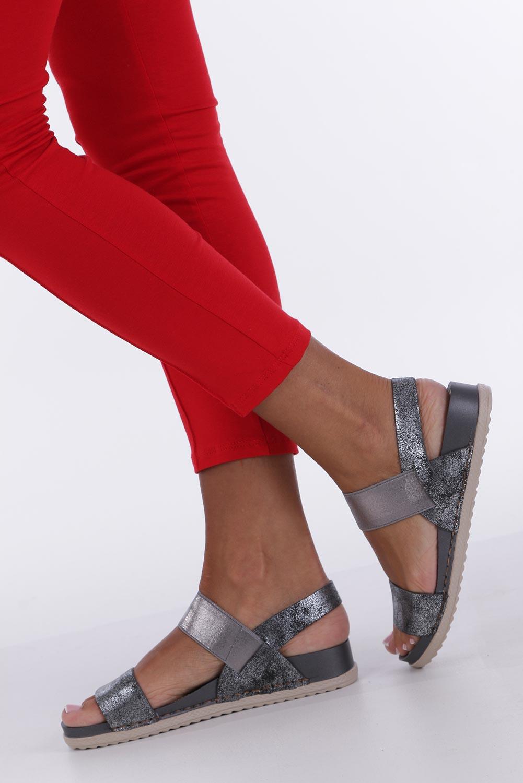 Stalowe sandały płaskie z gumką Casu F19X3/PE kolor stalowy