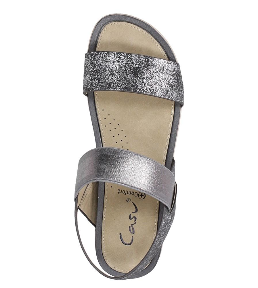 Stalowe sandały płaskie z gumką Casu F19X3/PE wierzch skóra ekologiczna