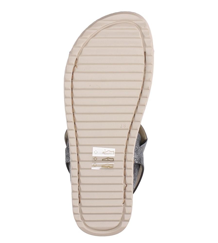 Stalowe sandały płaskie z gumką Casu F19X3/PE wnetrze skóra ekologiczna