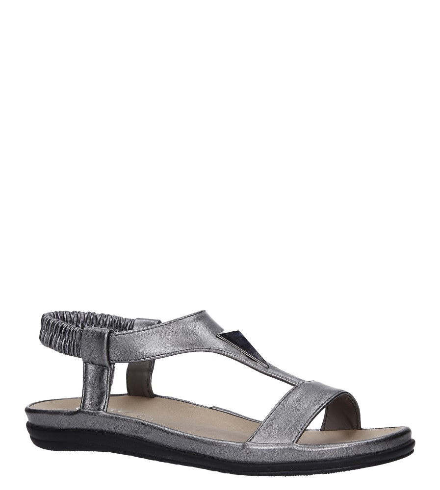 Stalowe sandały płaskie z gumką i metalową ozdobą Casu N19X6/PE
